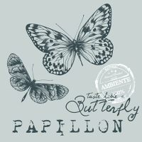 Cocktail Servietten PAPILLON GREY