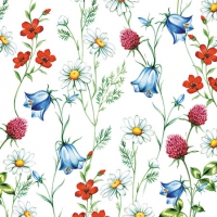 Servietten 25x25 cm - Mixed Wild Flowers White
