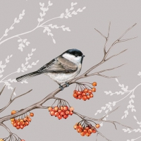 Servietten 25x25 cm - Bird On Branch Grey