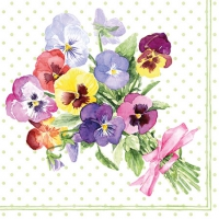 Servietten 25x25 cm - Bunch of Violets Green