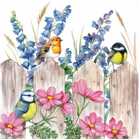 Servietten 25x25 cm - Birds on Fence