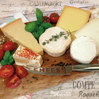 Servietten 25x25 cm - Palette of Cheeses