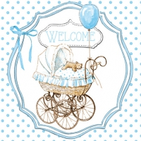 Servietten 25x25 cm - Welcome blue