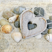 Servietten 25x25 cm - Heart And Stones