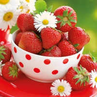 Servietten 25x25 cm - Strawberries In Bowl