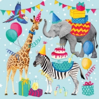 Servietten 25x25 cm - Animal Birthday Blue