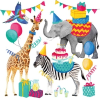 Servietten 25x25 cm - Animal Birthday White