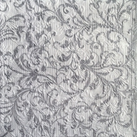 Lunch Servietten ELEGANCE DAMASK WHITE/SILVER