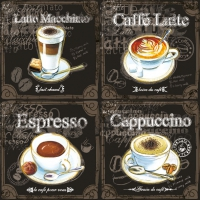 Servietten 33x33 cm - Types Of Coffee