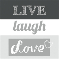 Lunch Servietten LIVE LAUGH LOVE GREY