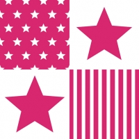 Lunch Servietten STAR STRIPES MAGENTA