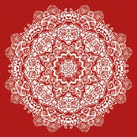 Lunch Servietten Lace Flower Red
