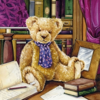 Servietten 33x33 cm - Teddy In Library