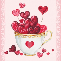 Servietten 33x33 cm - Cup of Hearts
