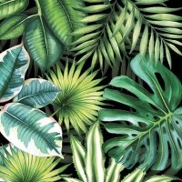 Servietten 33x33 cm - Tropical Leaves Black