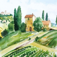 Servietten 33x33 cm - Tuscany Watercolor