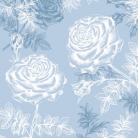 Lunch Servietten Etching Roses Blue