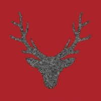 Servietten 33x33 cm - Stag Head Red