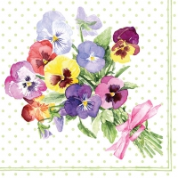 Servietten 33x33 cm - Bunch of Violets Green