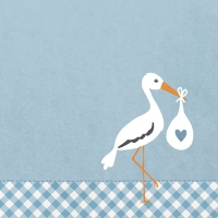 Servietten 33x33 cm - Love Stork blue