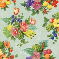 Servietten 33x33 cm - Flowers And Fruits Green
