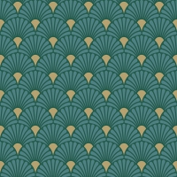 Servietten 33x33 cm - Art Deco Green/Gold