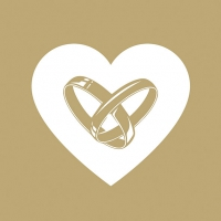 Napkins 33x33 cm - Love Rings Gold