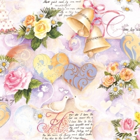 Napkins 33x33 cm - Wedding Bells Rose