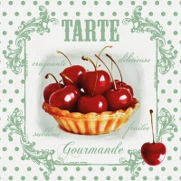 Servietten 33x33 cm - Tarte Red Cherries
