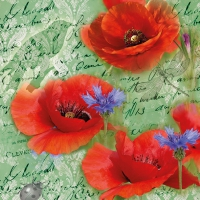 Napkins 33x33 cm - Painted Poppies Green