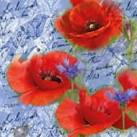 Servietten 33x33 cm - Painted Poppies Blue