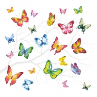 Servietten 33x33 cm - Colourful Butterflies