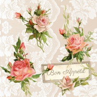 Servietten 33x33 cm - Roses On Lace