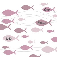 Servietten 33x33 cm - Communion Fishes Bordeaux