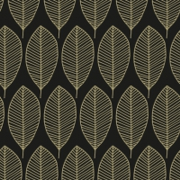 Servietten 33x33 cm - Oval Leaves Black/Gold