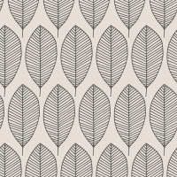Servietten 33x33 cm - Oval Leaves Grey
