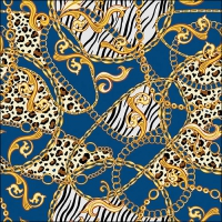 Servietten 33x33 cm - Golden Pattern Blue