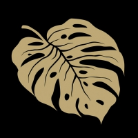 Servietten 33x33 cm - Monstera Gold/Black
