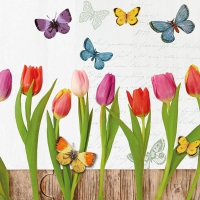 Servietten 33x33 cm - Spring Collage White