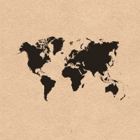 Napkins 33x33 cm - World Map