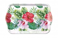 Tablett - Hibiscus Floral White
