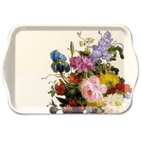 Tablett - 13X21cm Still Life Bouquet Cream