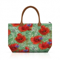 Handtasche - Painted Poppies Green