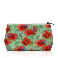 Kosmetiktasche - Painted Poppies Green