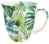 Porzellan-Tasse - Tropical Leaves White