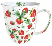 Porzellan-Tasse Strawberries All Over White