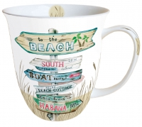 Porcelain Cup - Road Signs Sand