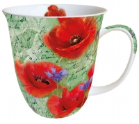Porzellan-Tasse - Painted Poppies Green