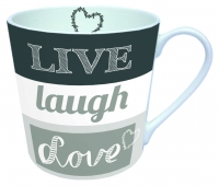 Porzellan-Henkelbecher Live Laugh Love Grey