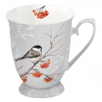 Porzellan-Tasse -  0.25 L Bird On Branch Grey